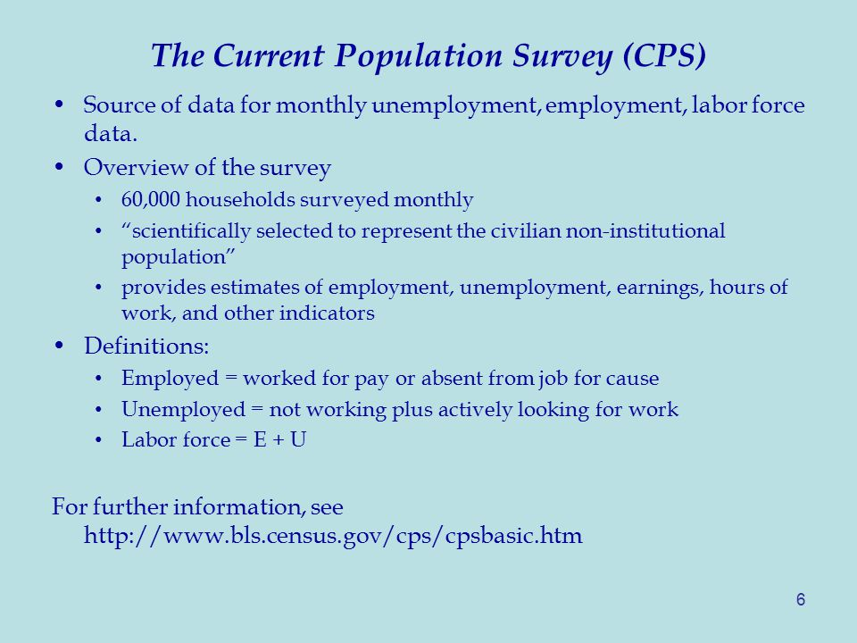6 The Current Population Survey (CPS) Source of data for monthly unemployment, employment, labor force data.