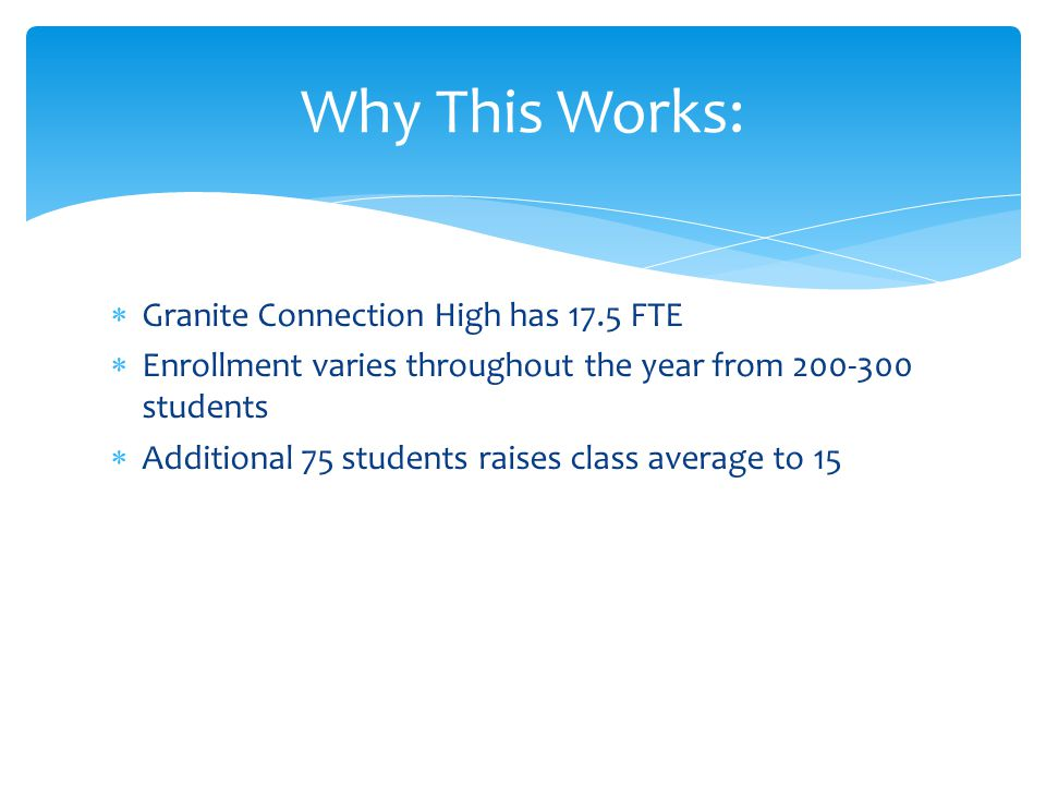  Granite Connection High has 17.5 FTE  Enrollment varies throughout the year from 200-300 students  Additional 75 students raises class average to