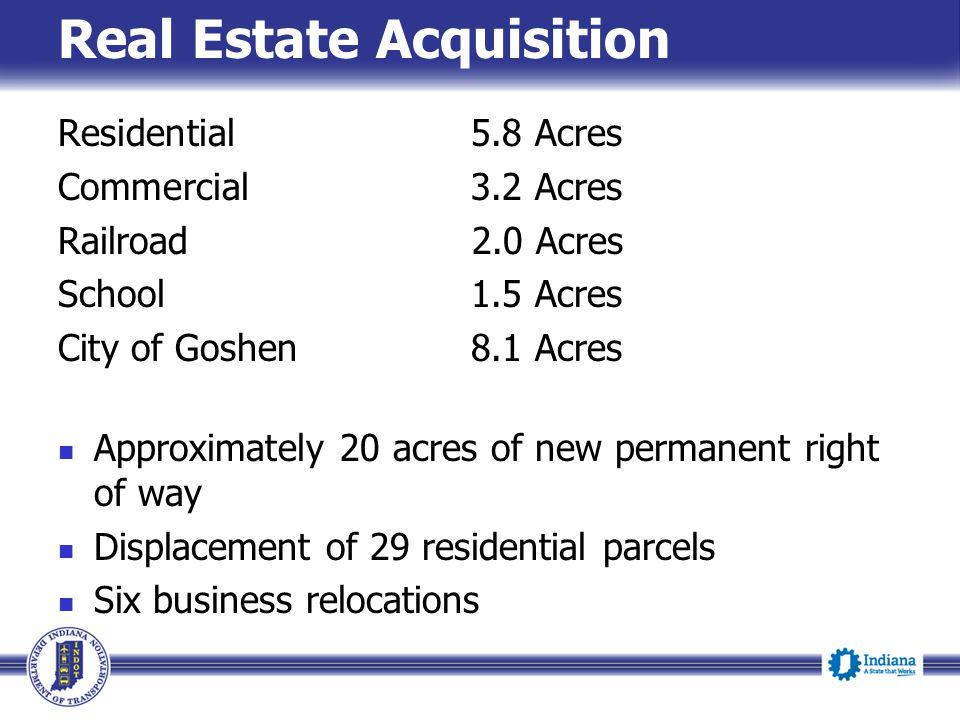 Real Estate Acquisition Residential 5.8 Acres Commercial 3.2 Acres Railroad 2.0 Acres School 1.5 Acres City of Goshen 8.1 Acres Approximately 20 acres