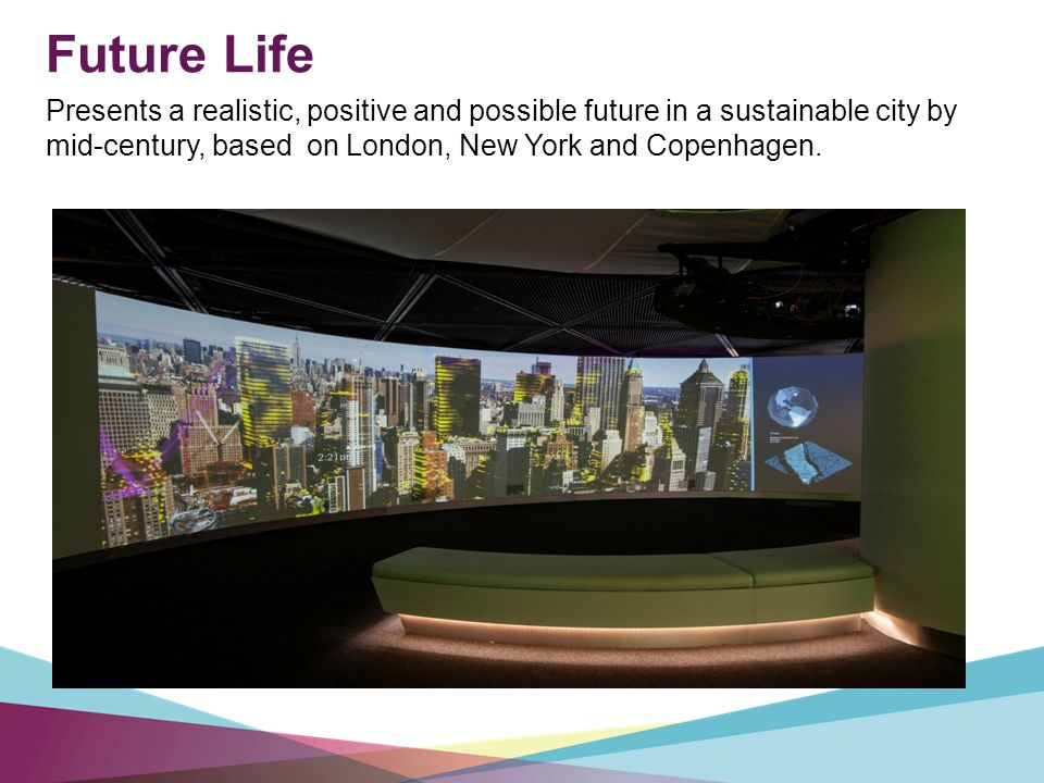 Future Life Presents a realistic, positive and possible future in a sustainable city by mid-century, based on London, New York and Copenhagen.