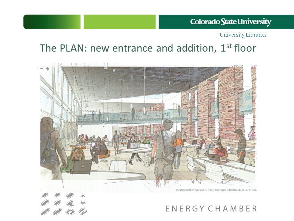The PLAN: new entrance and addition, 1 st floor Living room General study Group study Research bays Student support center Quiet study Meditative cham