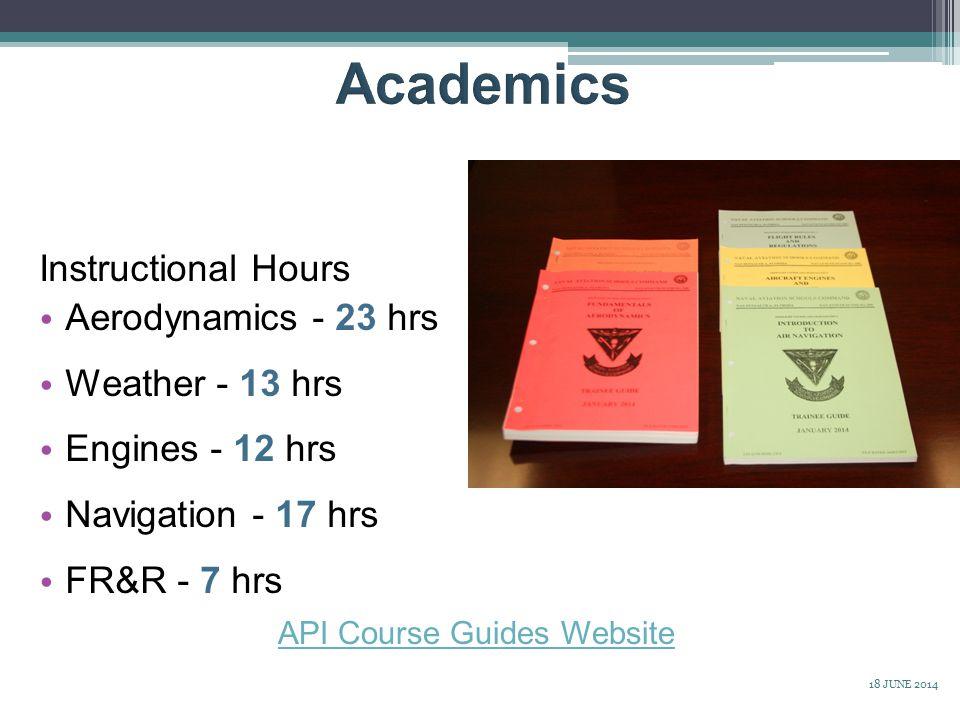 Instructional Hours Aerodynamics - 23 hrs Weather - 13 hrs Engines - 12 hrs Navigation - 17 hrs FR&R - 7 hrs API Course Guides Website 18 JUNE 2014