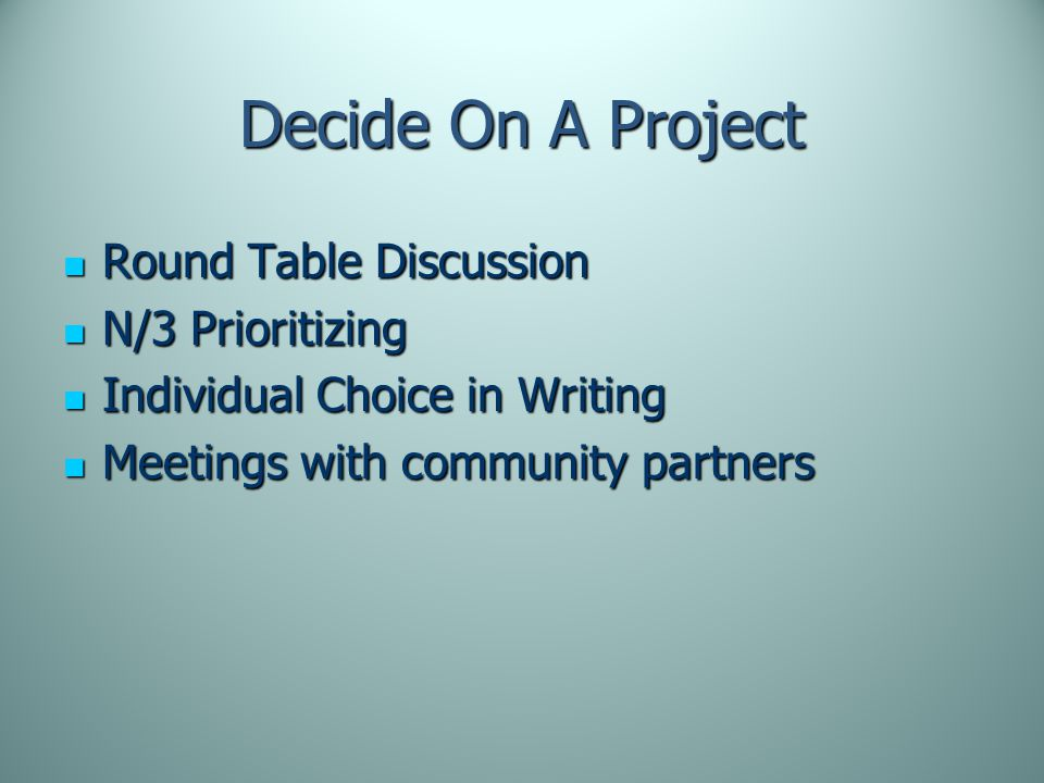 Decide On A Project Round Table Discussion Round Table Discussion N/3 Prioritizing N/3 Prioritizing Individual Choice in Writing Individual Choice in Writing Meetings with community partners Meetings with community partners