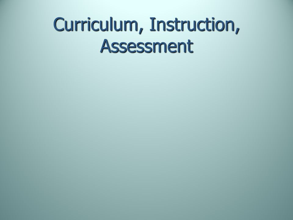 Curriculum, Instruction, Assessment