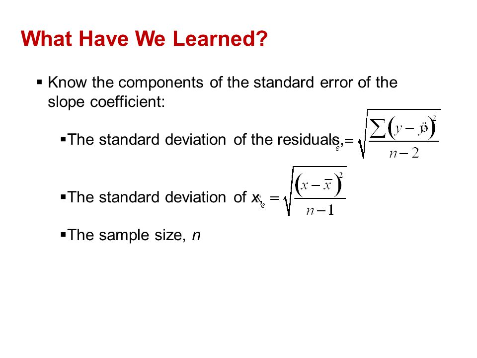 What Have We Learned?  Know the components of the standard error of the slope coefficient:  The standard deviation of the residuals,  The standard