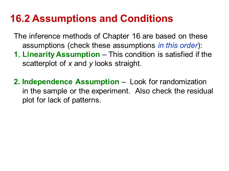 16.2 Assumptions and Conditions The inference methods of Chapter 16 are based on these assumptions (check these assumptions in this order): 1.Linearit