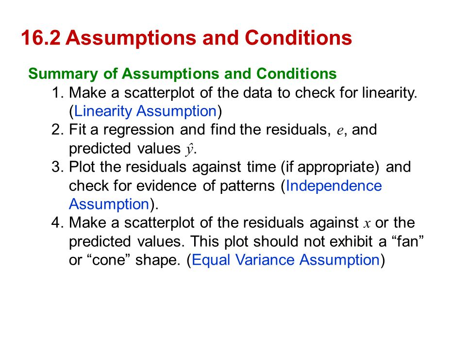 16.2 Assumptions and Conditions Summary of Assumptions and Conditions 1.Make a scatterplot of the data to check for linearity. (Linearity Assumption)