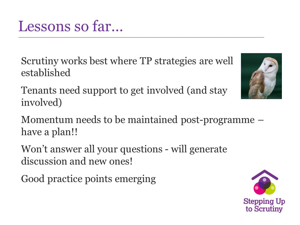 Lessons so far… Scrutiny works best where TP strategies are well established Tenants need support to get involved (and stay involved) Momentum needs t