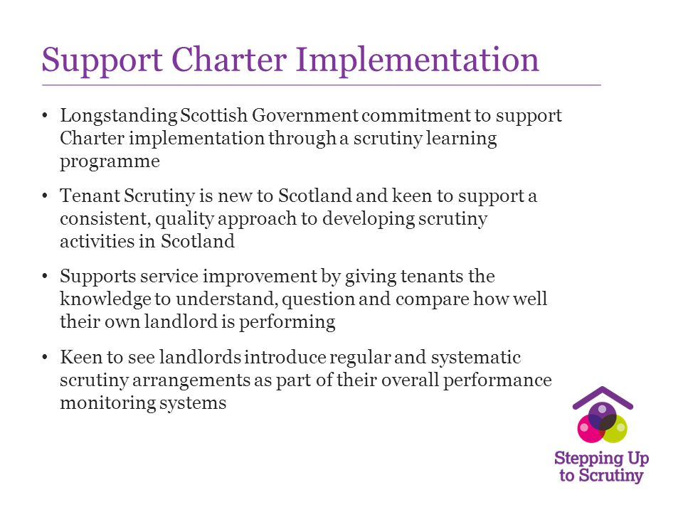 Moving forward……… What other support do tenants need to take part in scrutiny.