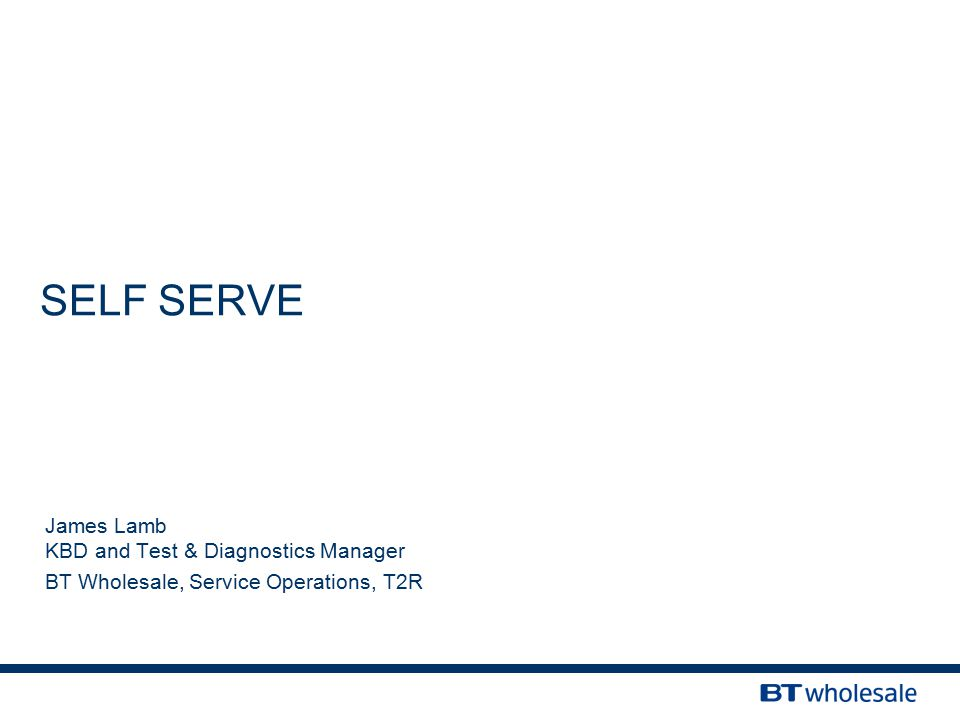 SELF SERVE James Lamb KBD and Test & Diagnostics Manager BT Wholesale, Service Operations, T2R