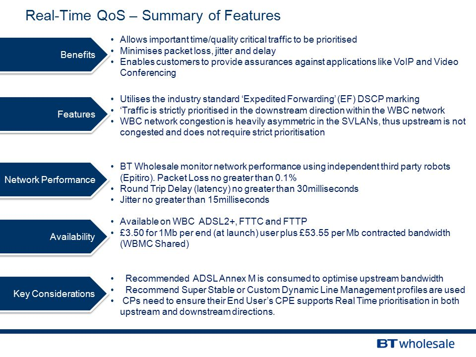 Features Network Performance Availability Key Considerations Real-Time QoS – Summary of Features BT Wholesale monitor network performance using independent third party robots (Epitiro).