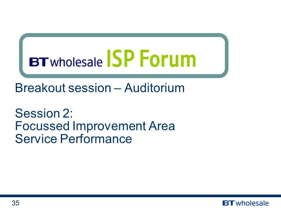 35 Breakout session – Auditorium Session 2: Focussed Improvement Area Service Performance