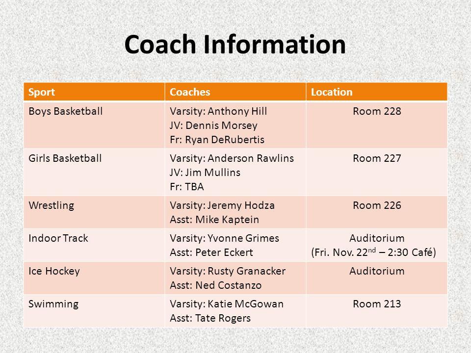 Coach Information SportCoachesLocation Boys BasketballVarsity: Anthony Hill JV: Dennis Morsey Fr: Ryan DeRubertis Room 228 Girls BasketballVarsity: An