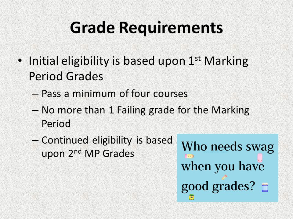 Grade Requirements Initial eligibility is based upon 1 st Marking Period Grades – Pass a minimum of four courses – No more than 1 Failing grade for th