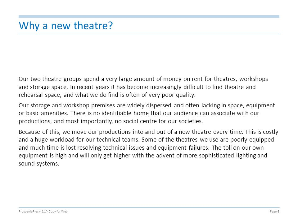 Why a new theatre? Our two theatre groups spend a very large amount of money on rent for theatres, workshops and storage space. In recent years it has
