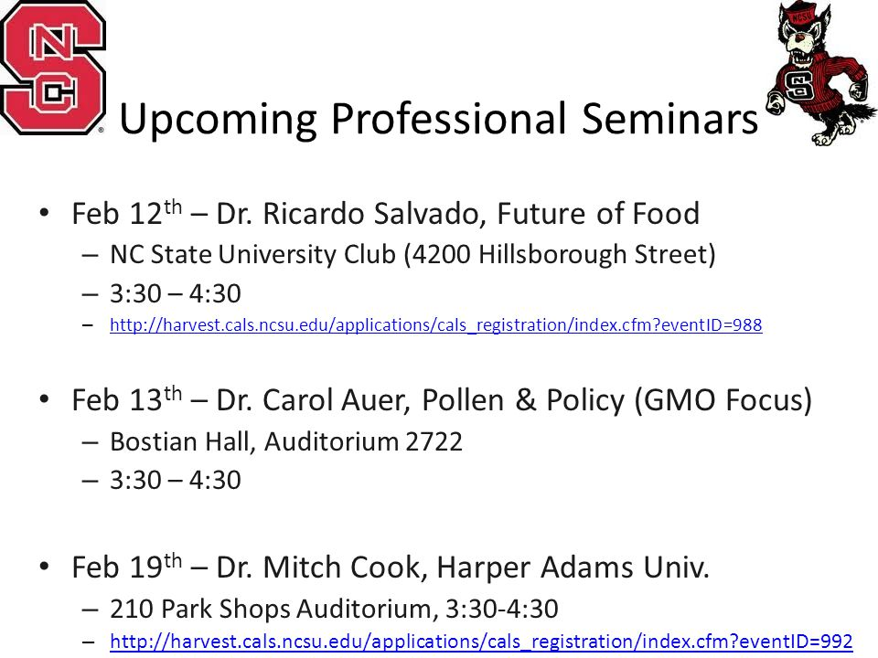 Upcoming Professional Seminars Feb 12 th – Dr.