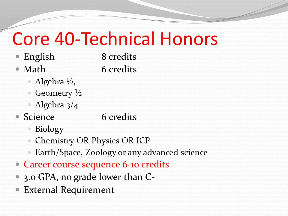 Core 40-Technical Honors English8 credits Math6 credits Algebra ½, Geometry ½ Algebra 3/4 Science6 credits Biology Chemistry OR Physics OR ICP Earth/Space, Zoology or any advanced science Career course sequence 6-10 credits 3.0 GPA, no grade lower than C- External Requirement