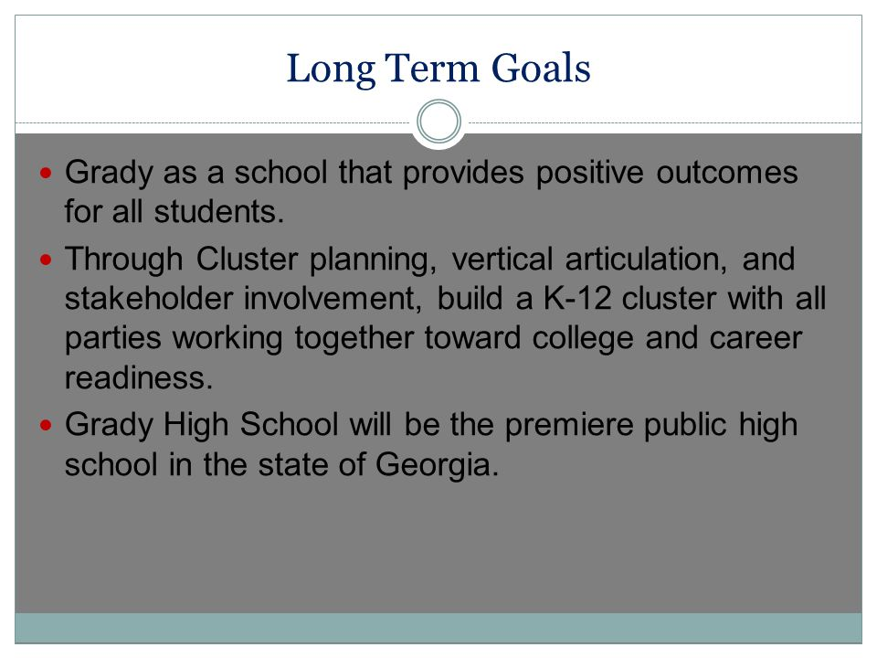Long Term Goals Grady as a school that provides positive outcomes for all students.