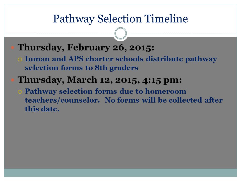 Pathway Selection Timeline Thursday, February 26, 2015:  Inman and APS charter schools distribute pathway selection forms to 8th graders Thursday, March 12, 2015, 4:15 pm:  Pathway selection forms due to homeroom teachers/counselor.