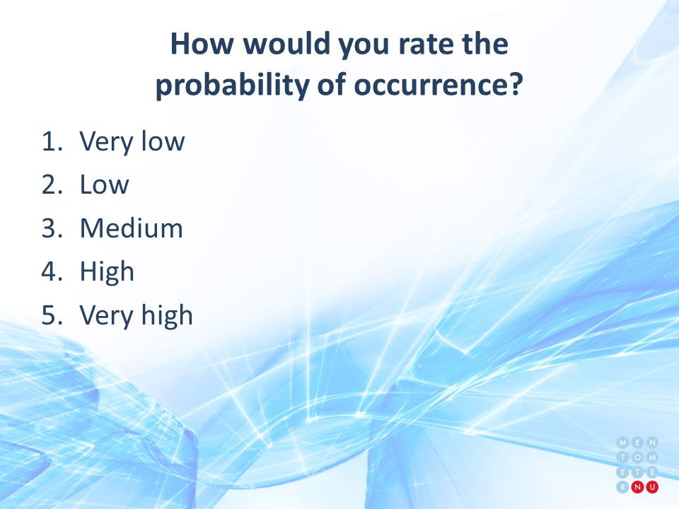 How would you rate the probability of occurrence 1.Very low 2.Low 3.Medium 4.High 5.Very high