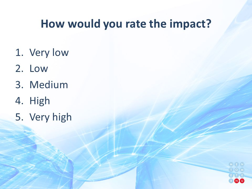 How would you rate the impact 1.Very low 2.Low 3.Medium 4.High 5.Very high