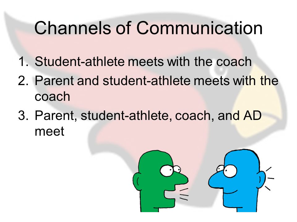 Channels of Communication 1.Student-athlete meets with the coach 2.Parent and student-athlete meets with the coach 3.Parent, student-athlete, coach, and AD meet