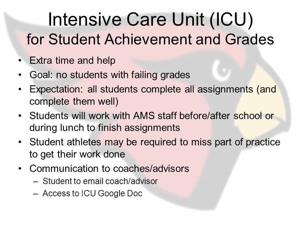 Intensive Care Unit (ICU) for Student Achievement and Grades Extra time and help Goal: no students with failing grades Expectation: all students complete all assignments (and complete them well) Students will work with AMS staff before/after school or during lunch to finish assignments Student athletes may be required to miss part of practice to get their work done Communication to coaches/advisors –Student to email coach/advisor –Access to ICU Google Doc
