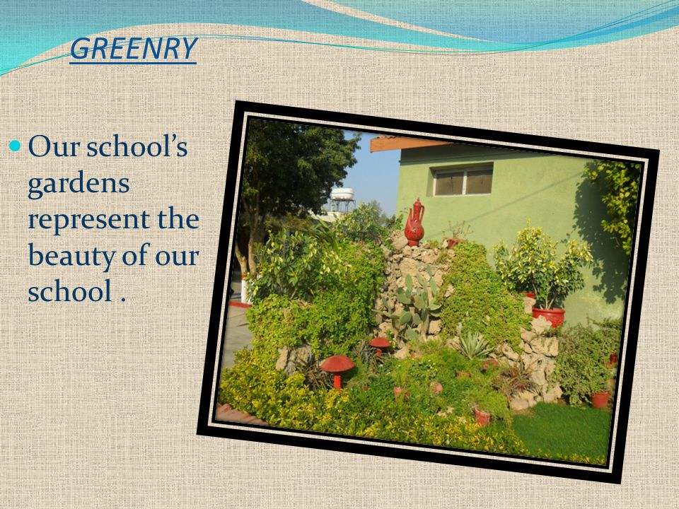 GREENRY Our school's gardens represent the beauty of our school.