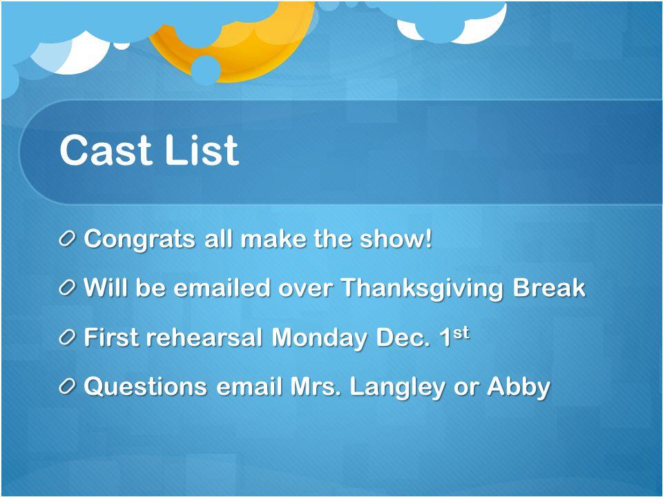 Cast List Congrats all make the show.