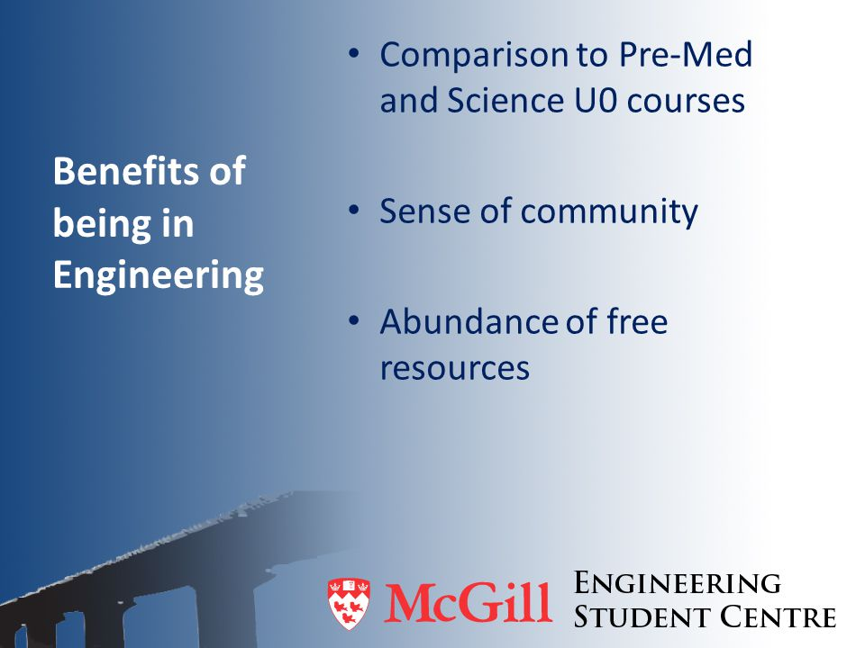 Benefits of being in Engineering Comparison to Pre-Med and Science U0 courses Sense of community Abundance of free resources
