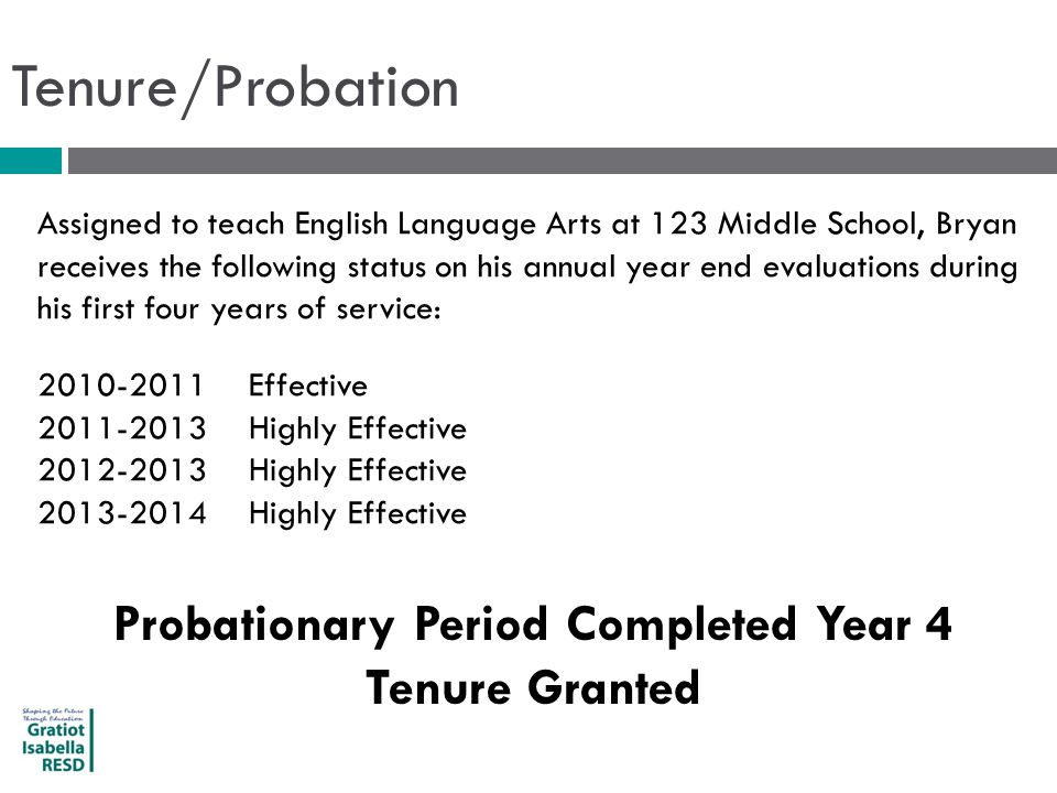 Tenure/Probation Assigned to teach English Language Arts at 123 Middle School, Bryan receives the following status on his annual year end evaluations during his first four years of service: 2010-2011Effective 2011-2013Highly Effective 2012-2013Highly Effective 2013-2014Highly Effective Probationary Period Completed Year 4 Tenure Granted