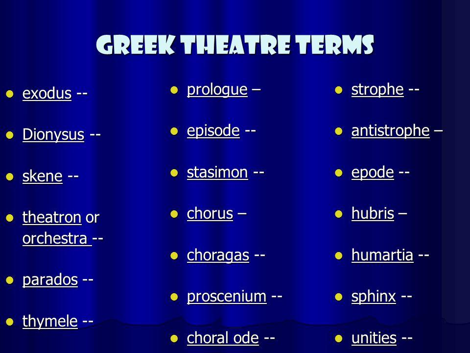 Greek Theatre Terms exodus -- exodus -- Dionysus -- Dionysus -- skene -- skene -- theatron or theatron or orchestra -- parados -- parados -- thymele -- thymele -- prologue – prologue – episode -- episode -- stasimon -- stasimon -- chorus – chorus – choragas -- choragas -- proscenium -- proscenium -- choral ode -- choral ode -- strophe -- strophe -- antistrophe – antistrophe – epode -- epode -- hubris – hubris – humartia -- humartia -- sphinx -- sphinx -- unities -- unities --