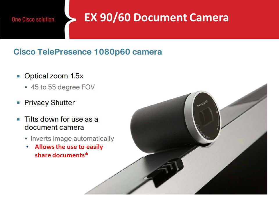 EX 90/60 Document Camera Allows the use to easily share documents*