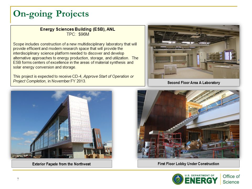On-going Projects Energy Sciences Building (ESB), ANL TPC: $96M Scope includes construction of a new multidisciplinary laboratory that will provide efficient and modern research space that will provide the interdisciplinary science platform needed to discover and develop alternative approaches to energy production, storage, and utilization.
