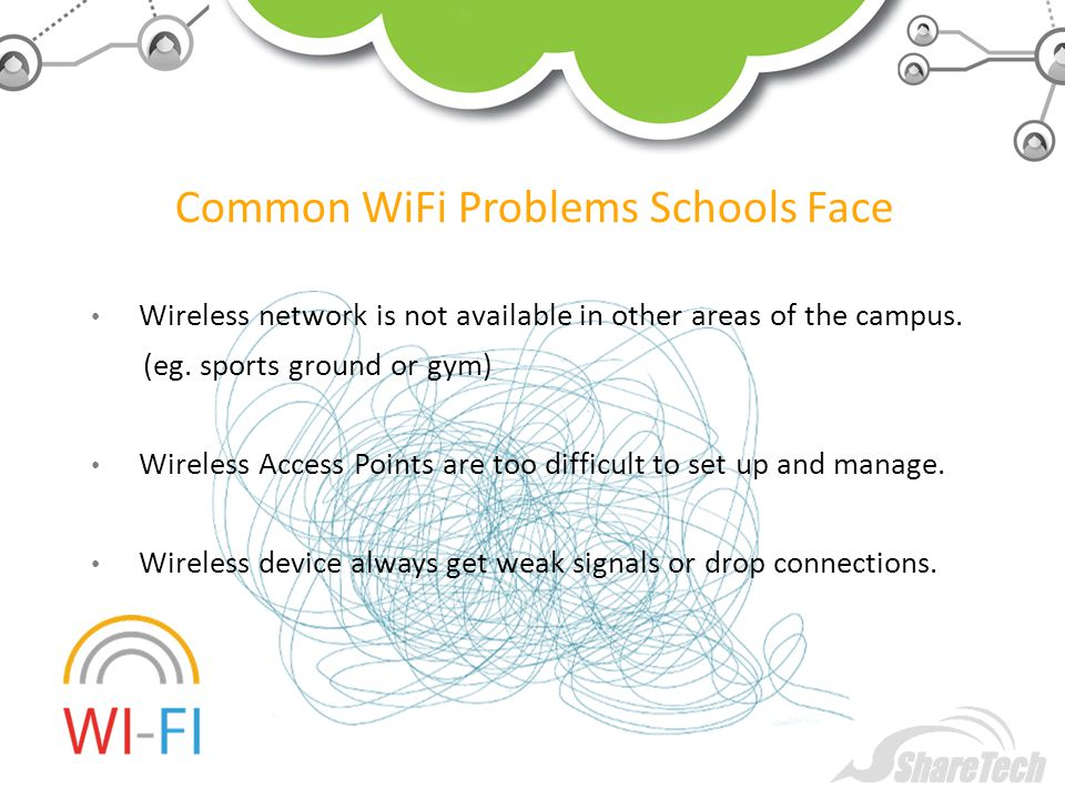 Common WiFi Problems Schools Face Wireless network is not available in other areas of the campus.