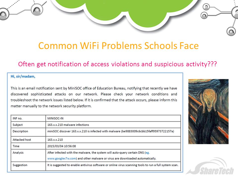 Common WiFi Problems Schools Face Often get notification of access violations and suspicious activity