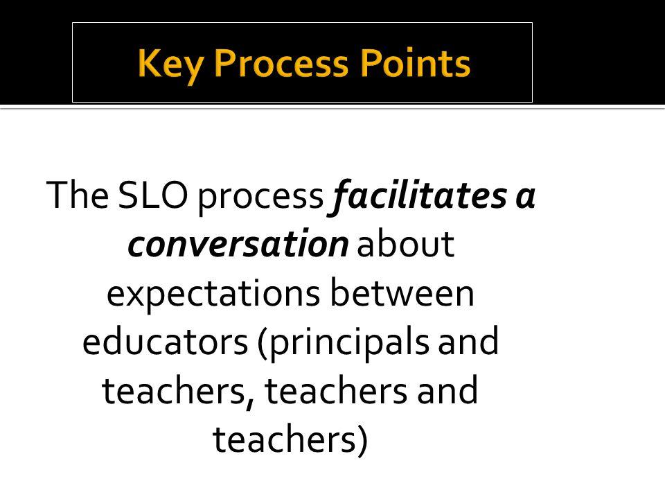 The SLO process facilitates a conversation about expectations between educators (principals and teachers, teachers and teachers)