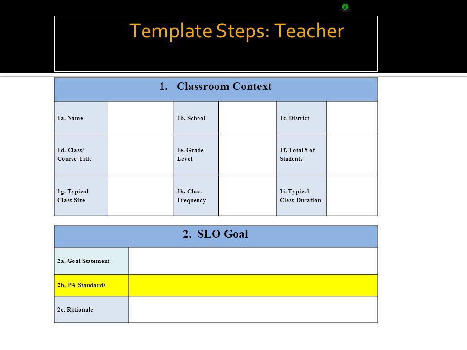 SLO Template Steps: Teacher 1.Classroom Context 1a.