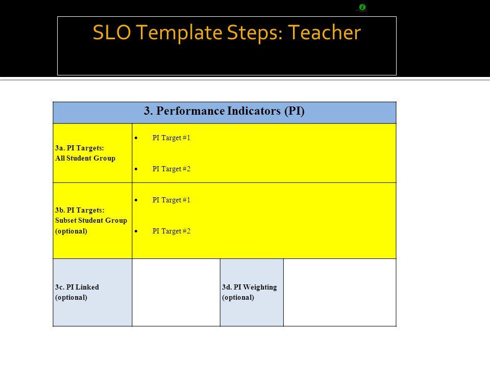 SLO Template Steps: Teacher 3. Performance Indicators (PI) 3a.