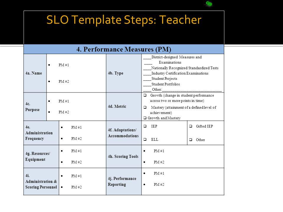 SLO Template Steps: Teacher 4. Performance Measures (PM) 4a.