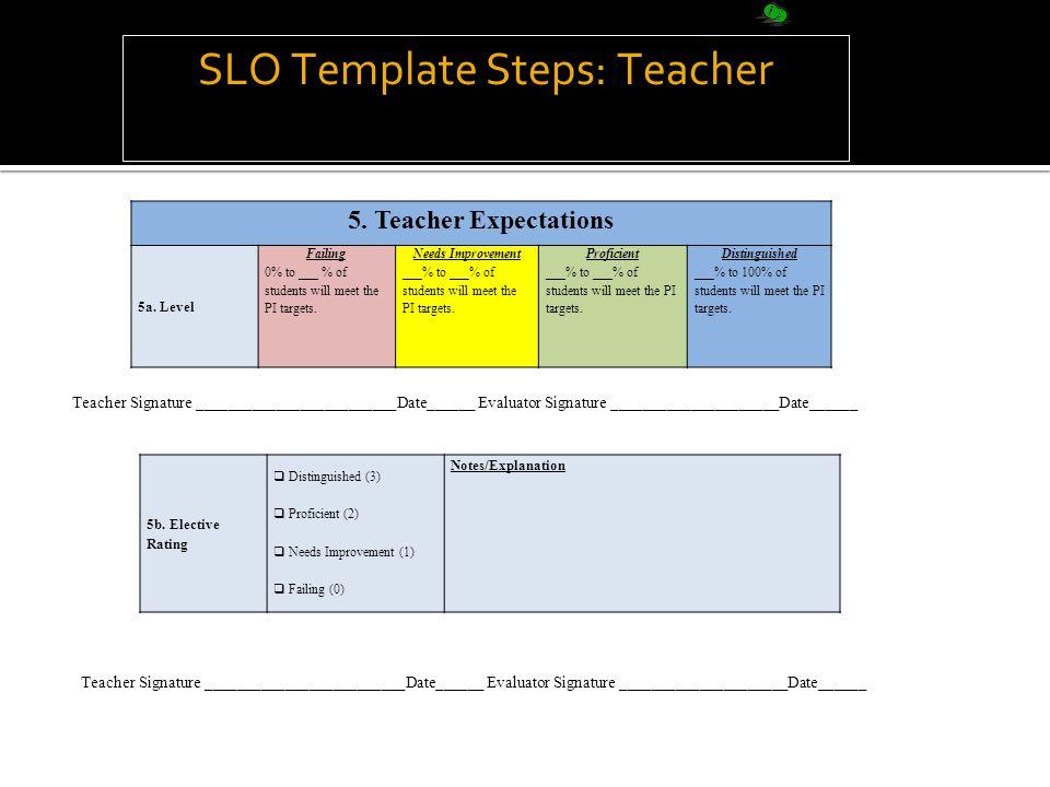 SLO Template Steps: Teacher 5. Teacher Expectations 5a.