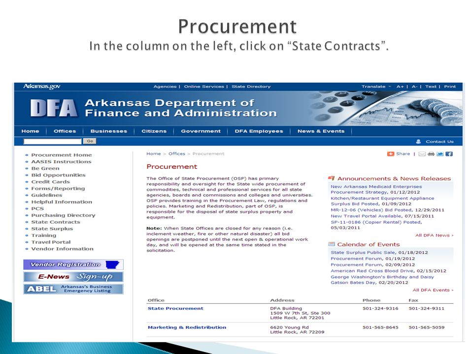 The Procurement home page opens up.