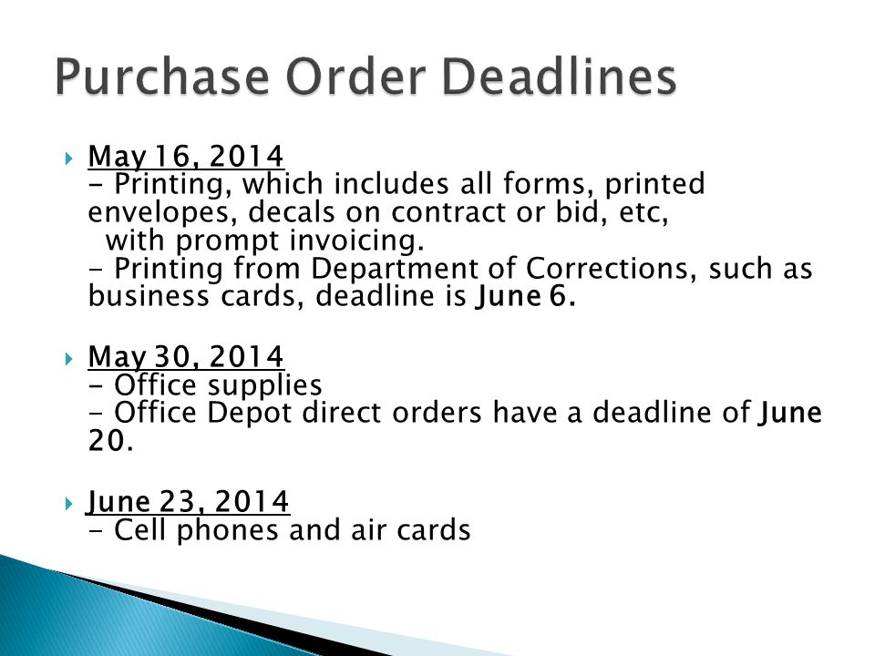  May 16, 2014 - Printing, which includes all forms, printed envelopes, decals on contract or bid, etc, with prompt invoicing.