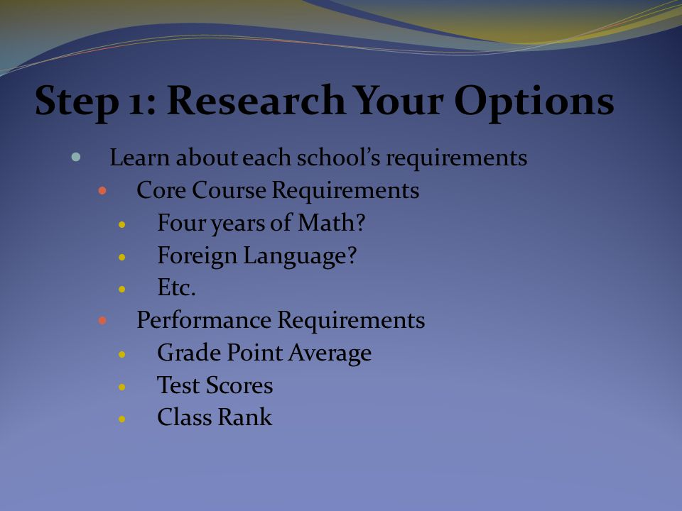 Step 1: Research Your Options Learn about each school's requirements Core Course Requirements Four years of Math? Foreign Language? Etc. Performance R