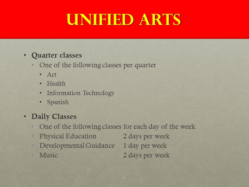 UNIFIED ARTS Quarter classes One of the following classes per quarter Art Health Information Technology Spanish Daily Classes One of the following classes for each day of the week Physical Education 2 days per week Developmental Guidance 1 day per week Music 2 days per week 13