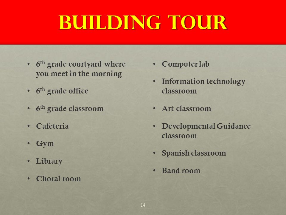 Building Tour 6 th grade courtyard where you meet in the morning 6 th grade office 6 th grade classroom Cafeteria Gym Library Choral room Computer lab Information technology classroom Art classroom Developmental Guidance classroom Spanish classroom Band room 14