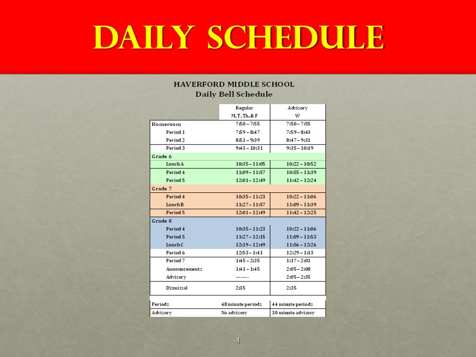 Daily SCHEDULE 4