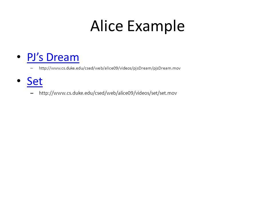 Alice Example PJ's Dream – http://www.cs.duke.edu/csed/web/alice09/videos/pjsDream/pjsDream.mov Set – http://www.cs.duke.edu/csed/web/alice09/videos/s