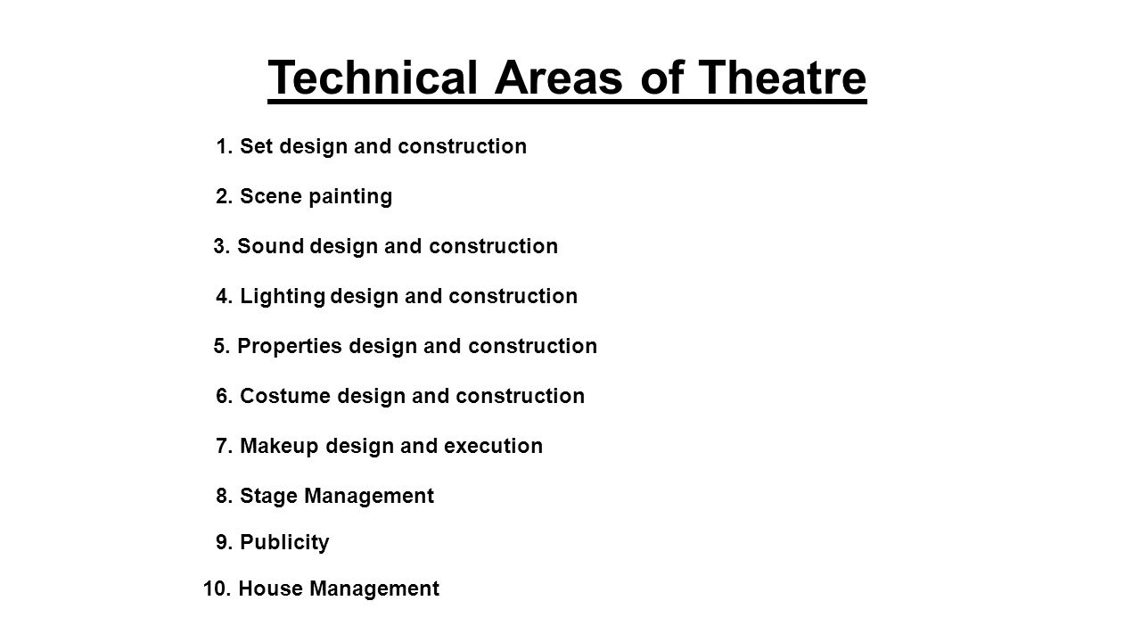 Technical Areas of Theatre 1. Set design and construction 2.