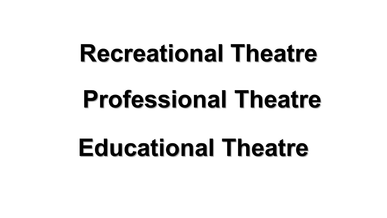 Recreational Theatre Professional Theatre Educational Theatre